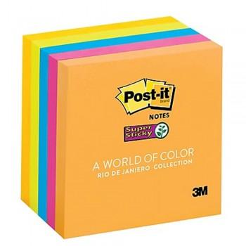 """3M 654-5SSRD Post-It 3"""" x 3"""" Rio De Janeiro 5 Pads/Pack"""