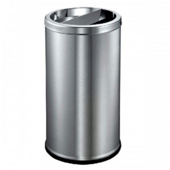 Stainless Steel Round Waste Bin C/W Half Ashtray & Half Open Top - RAB-087/SS (Item No: G01-37)