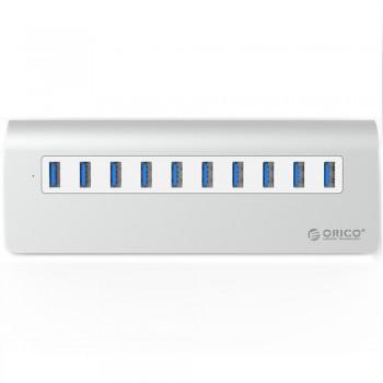 Orico M3H10 Aluminium USB3.0 10 Port Hub with 12V3A Power Adapter(Silver)