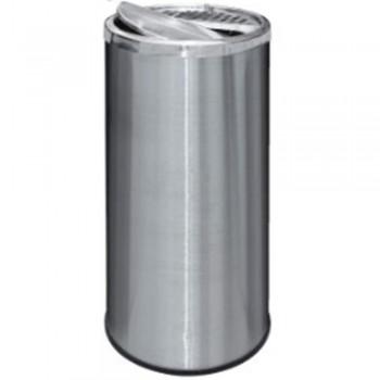 Stainless Steel Round Waste Bin c/w Half Ashtray & Half Swing Top-RAB-118/H (Item No.G01-257)