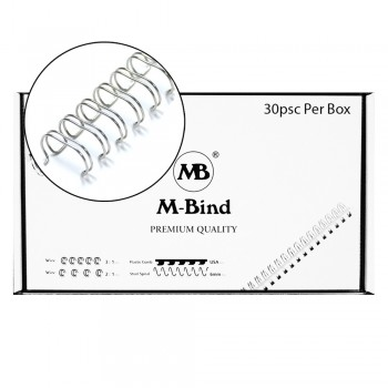 "M-Bind Double Wire Bind 2:1 A4 - 1-1/4""(32mm) X 23 Loops, 30pcs/box, Silver"