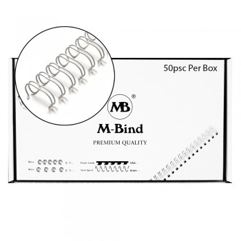 """M-Bind Double Wire Bind 2:1 A4 - 1""""(25.4mm) X 23 Loops, 50pcs/box, White"""