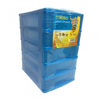 NISO 5 Tier Small Drawer Blue 17 x 4.5 x 12cm