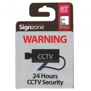 Signzone Peel & Stick Metallic Sticker - 24 Hours CCTV Security (Item No: R01-01CCTV24HR)