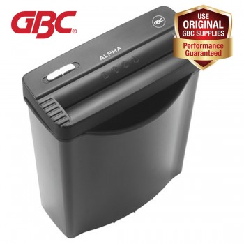 GBC Straight Cut Paper Shredder Alpha Ribbon - Shreds Credit Cards, Max 5-6 Papers, 10L Bin (Price after GST)